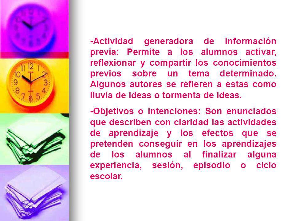 -Actividad generadora de información previa: Permite a los alumnos activar, reflexionar y compartir los conocimientos previos sobre un tema determinad