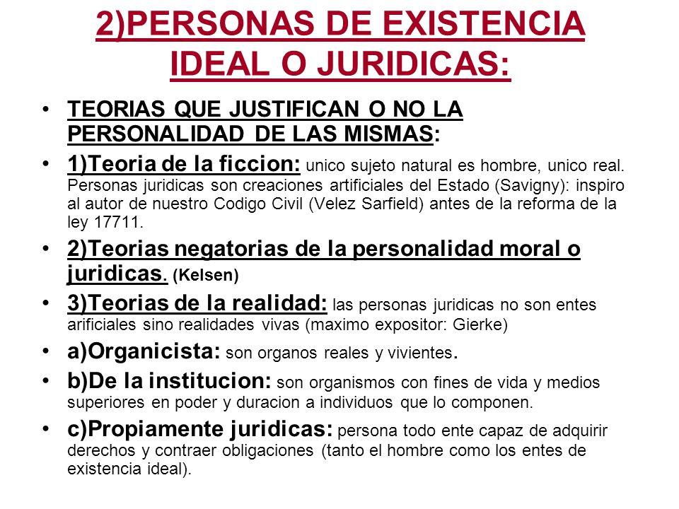 CLASES DE PERSONAS DE EXISTENCIA IDEAL O JURIDICAS: 1)DE CARÁCTER PUBLICO: fin interes publico.