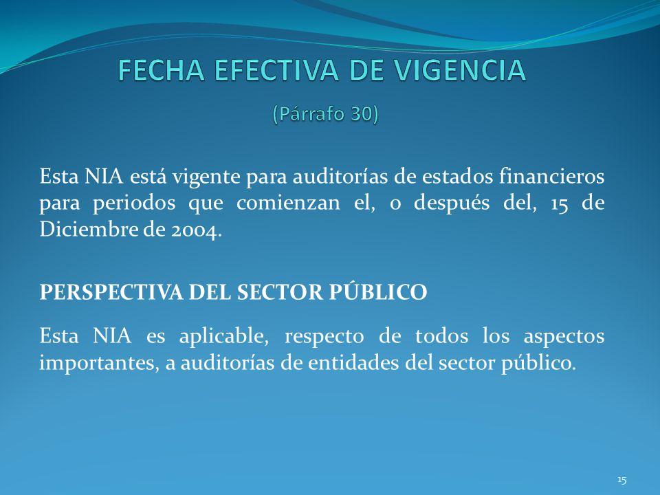 15 Esta NIA está vigente para auditorías de estados financieros para periodos que comienzan el, o después del, 15 de Diciembre de 2004. PERSPECTIVA DE