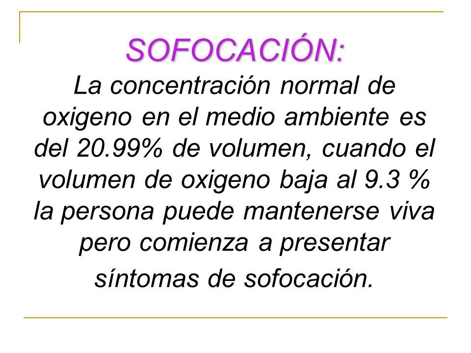 SOFOCACIÓN: La concentración normal de oxigeno en el medio ambiente es del 20.99% de volumen, cuando el volumen de oxigeno baja al 9.3 % la persona pu
