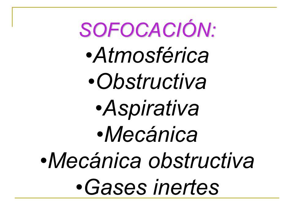SOFOCACIÓN: Atmosférica Obstructiva Aspirativa Mecánica Mecánica obstructiva Gases inertes