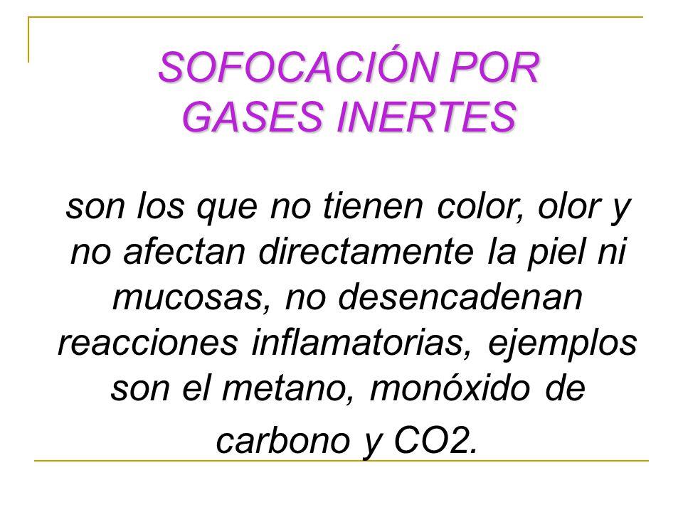 SOFOCACIÓN POR GASES INERTES son los que no tienen color, olor y no afectan directamente la piel ni mucosas, no desencadenan reacciones inflamatorias,