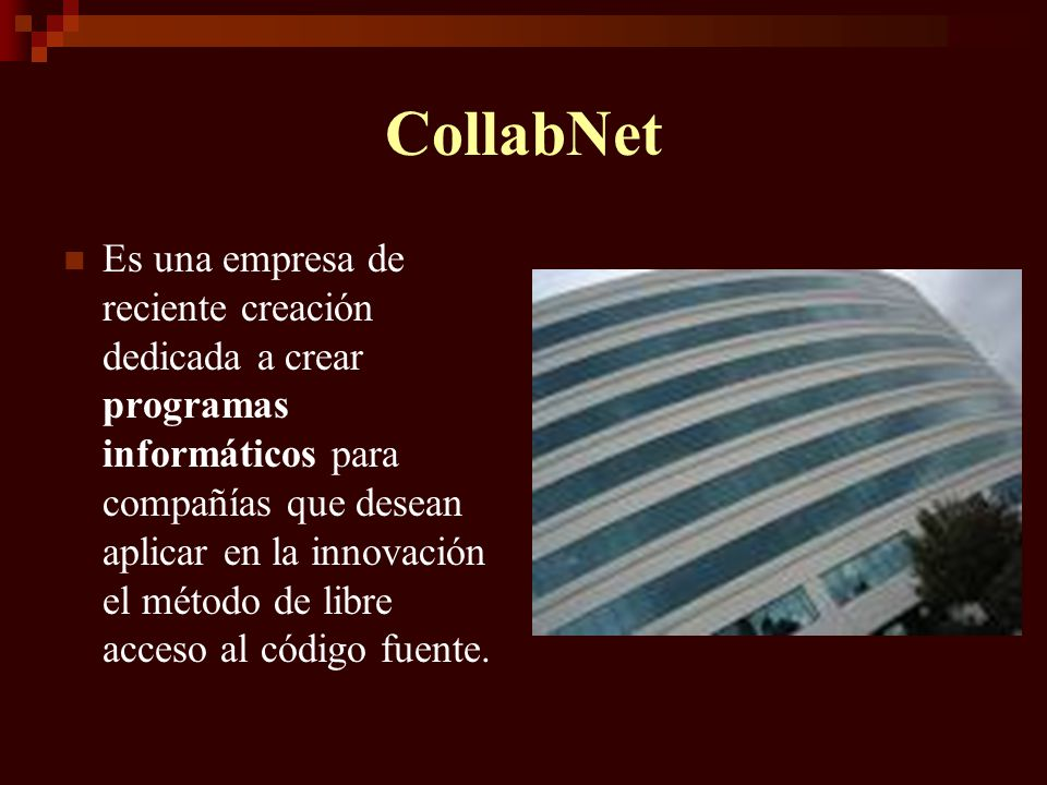 CollabNet Es una empresa de reciente creación dedicada a crear programas informáticos para compañías que desean aplicar en la innovación el método de
