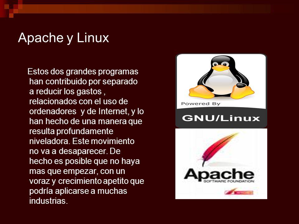 Apache y Linux Estos dos grandes programas han contribuido por separado a reducir los gastos, relacionados con el uso de ordenadores y de Internet, y