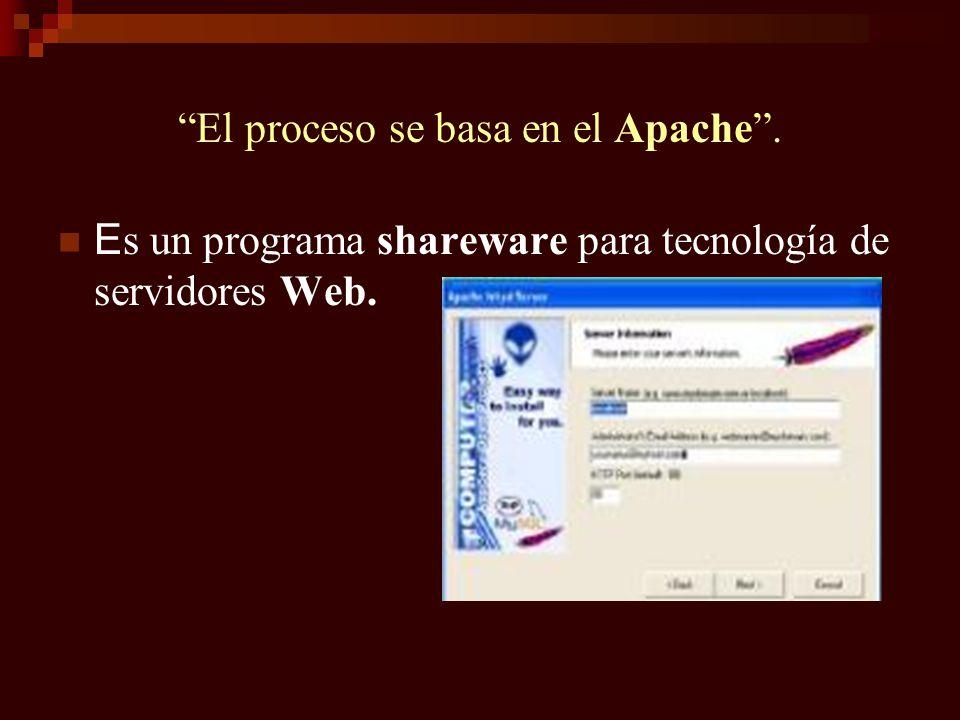 El proceso se basa en el Apache. E s un programa shareware para tecnología de servidores Web.