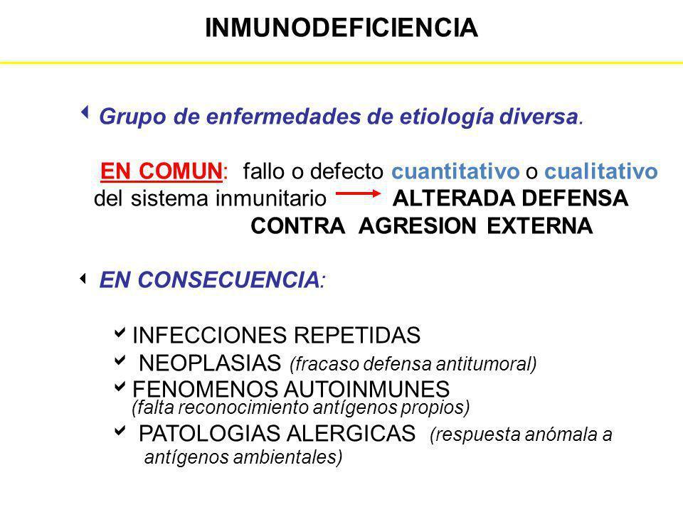 INMUNODEFICIENCIA Grupo de enfermedades de etiología diversa. EN COMUN: fallo o defecto cuantitativo o cualitativo del sistema inmunitario ALTERADA DE
