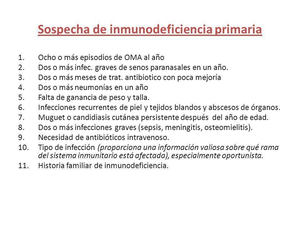 Sospecha de inmunodeficiencia primaria 1.Ocho o más episodios de OMA al año 2.Dos o más infec. graves de senos paranasales en un año. 3.Dos o más mese