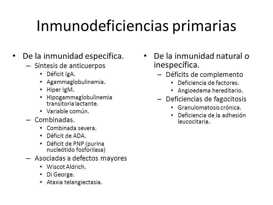 Inmunodeficiencias primarias De la inmunidad natural o inespecífica. – Déficits de complemento Deficiencia de factores. Angioedema hereditario. – Defi