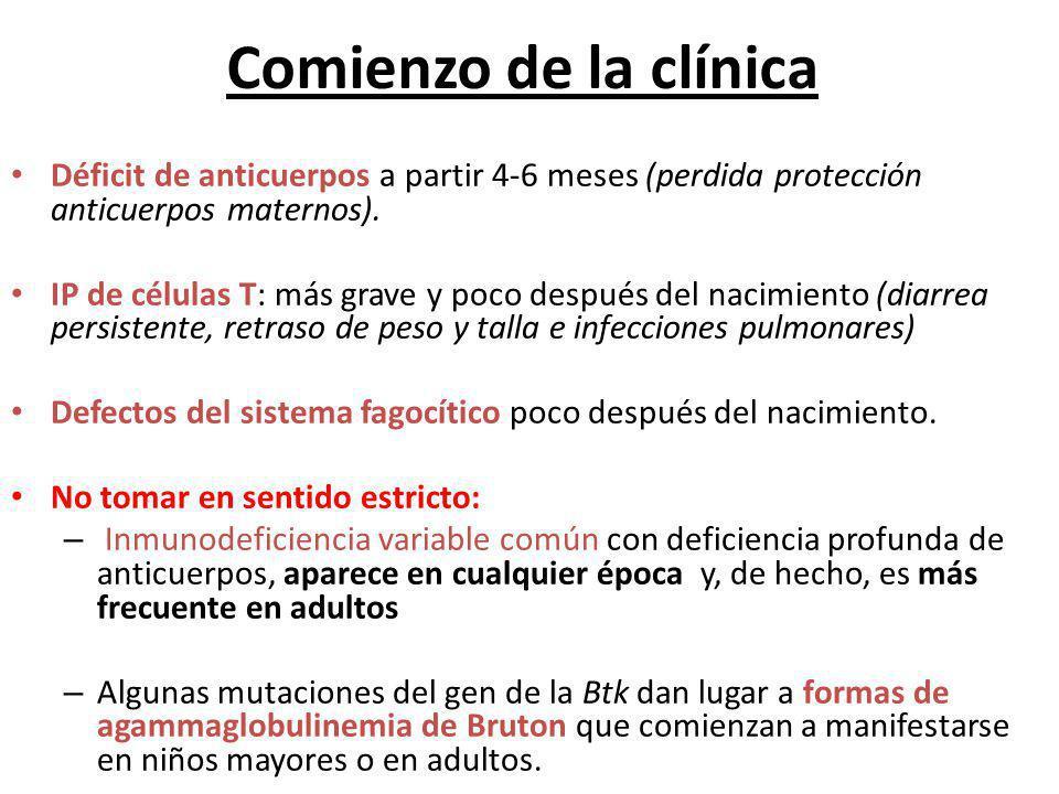 Comienzo de la clínica Déficit de anticuerpos a partir 4-6 meses (perdida protección anticuerpos maternos). IP de células T: más grave y poco después