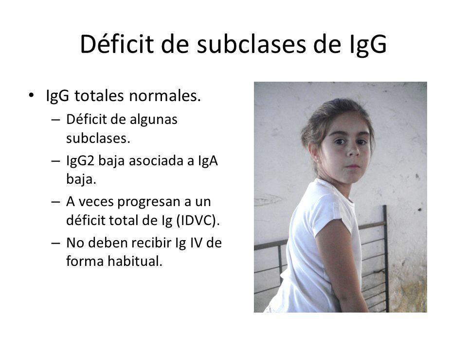 Déficit de subclases de IgG IgG totales normales. – Déficit de algunas subclases. – IgG2 baja asociada a IgA baja. – A veces progresan a un déficit to