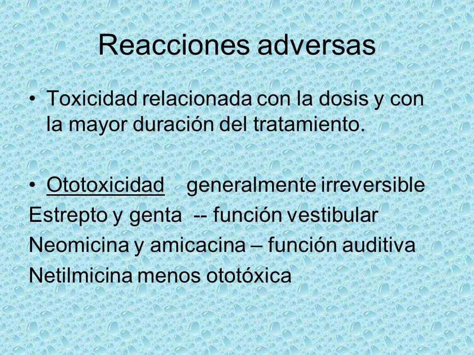 Reacciones adversas Toxicidad relacionada con la dosis y con la mayor duración del tratamiento. Ototoxicidad generalmente irreversible Estrepto y gent