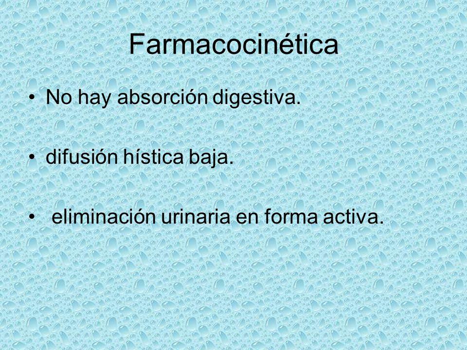 Farmacocinética No hay absorción digestiva. difusión hística baja. eliminación urinaria en forma activa.