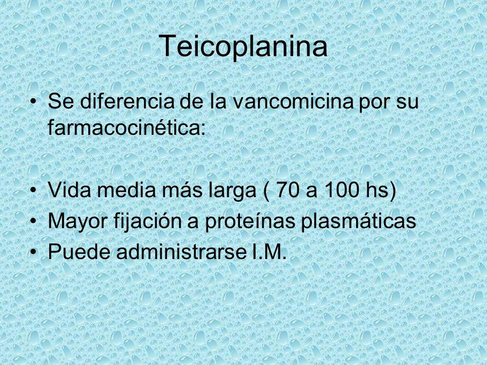 Teicoplanina Se diferencia de la vancomicina por su farmacocinética: Vida media más larga ( 70 a 100 hs) Mayor fijación a proteínas plasmáticas Puede