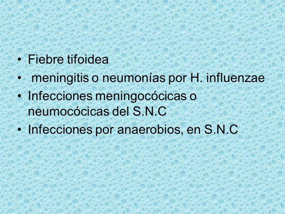 Fiebre tifoidea meningitis o neumonías por H. influenzae Infecciones meningocócicas o neumocócicas del S.N.C Infecciones por anaerobios, en S.N.C