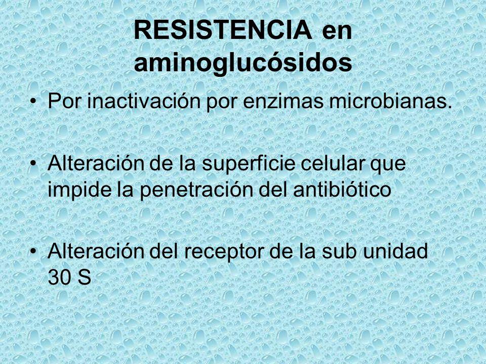 RESISTENCIA en aminoglucósidos Por inactivación por enzimas microbianas. Alteración de la superficie celular que impide la penetración del antibiótico