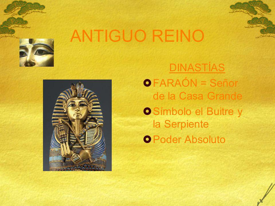 ANTIGUO REINO DINASTÍAS FARAÓN = Señor de la Casa Grande Símbolo el Buitre y la Serpiente Poder Absoluto