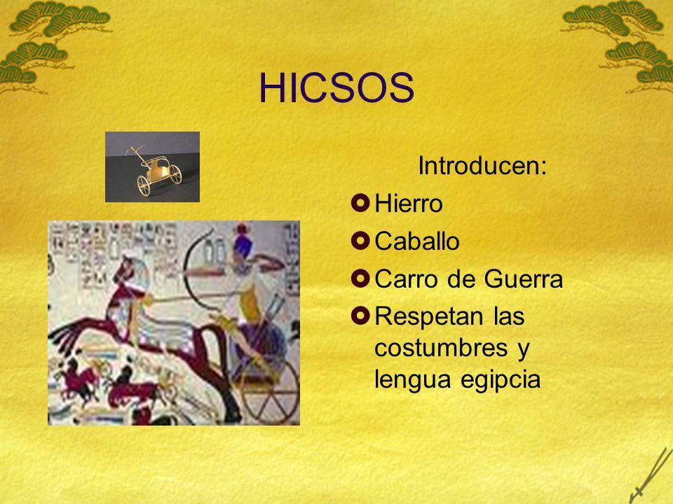 HICSOS Introducen: Hierro Caballo Carro de Guerra Respetan las costumbres y lengua egipcia