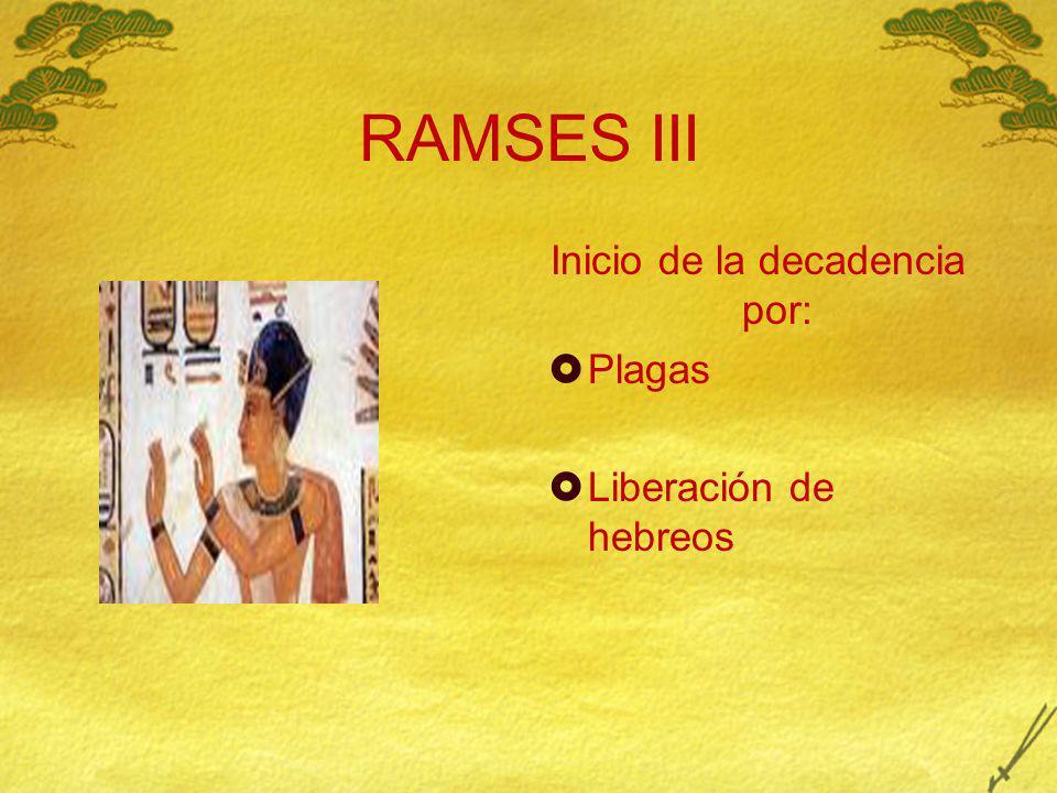 RAMSES III Inicio de la decadencia por: Plagas Liberación de hebreos