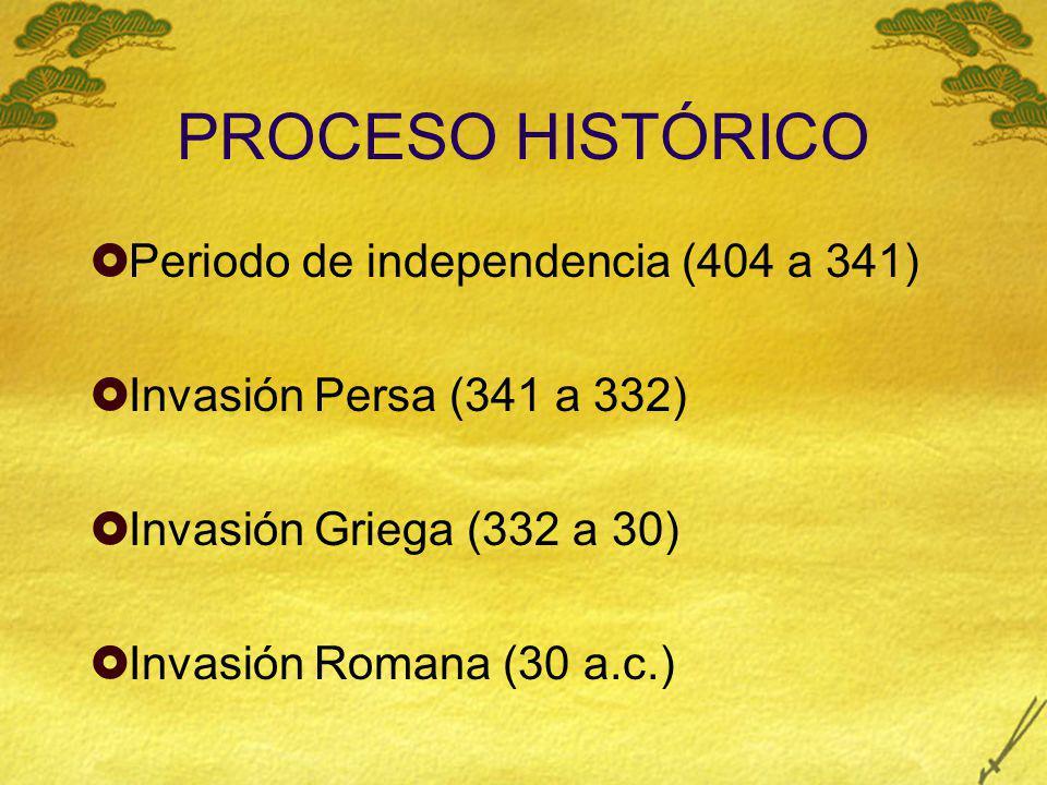 PROCESO HISTÓRICO Periodo de independencia (404 a 341) Invasión Persa (341 a 332) Invasión Griega (332 a 30) Invasión Romana (30 a.c.)