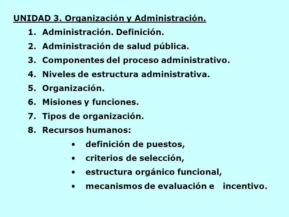 UNIDAD 3. Organización y Administración. 1.Administración.