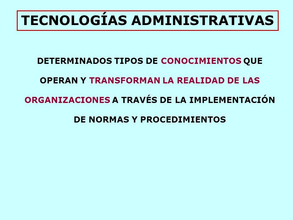 TECNOLOGÍAS ADMINISTRATIVAS DETERMINADOS TIPOS DE CONOCIMIENTOS QUE OPERAN Y TRANSFORMAN LA REALIDAD DE LAS ORGANIZACIONES A TRAVÉS DE LA IMPLEMENTACIÓN DE NORMAS Y PROCEDIMIENTOS