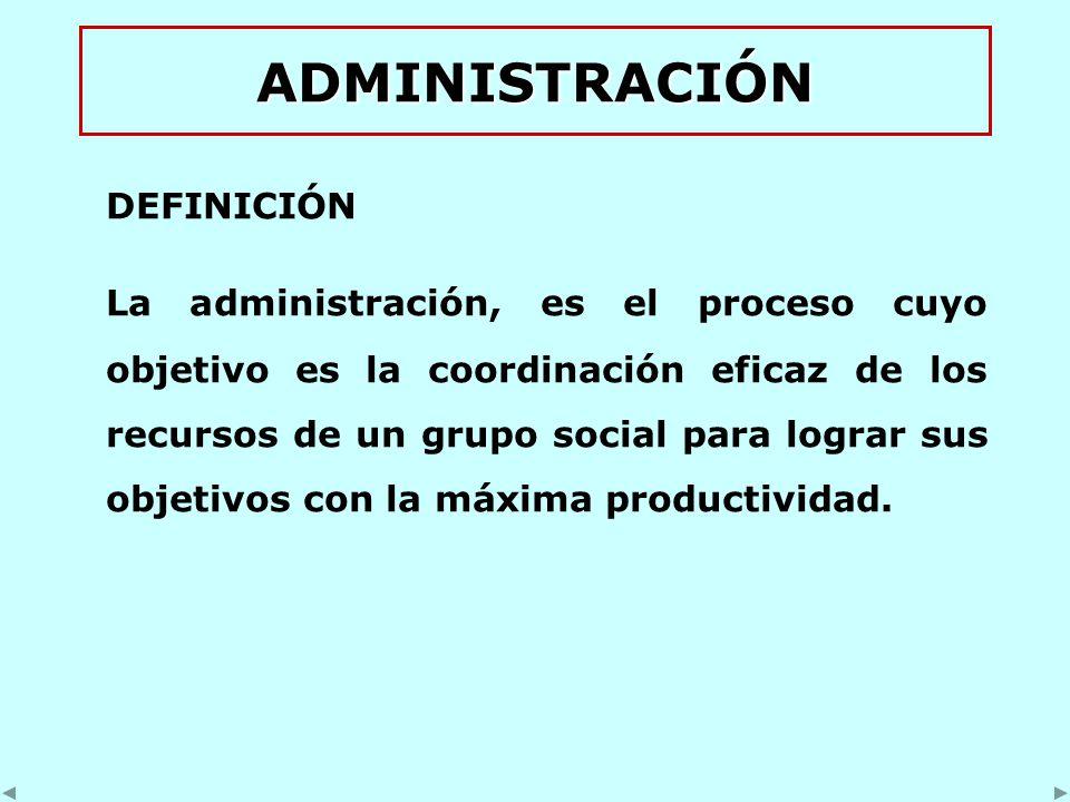 ADMINISTRACIÓN DEFINICIÓN La administración, es el proceso cuyo objetivo es la coordinación eficaz de los recursos de un grupo social para lograr sus objetivos con la máxima productividad.