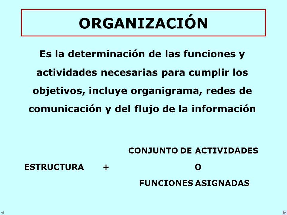 ORGANIZACIÓN Es la determinación de las funciones y actividades necesarias para cumplir los objetivos, incluye organigrama, redes de comunicación y del flujo de la información CONJUNTO DE ACTIVIDADES CONJUNTO DE ACTIVIDADES ESTRUCTURA + O ESTRUCTURA + O FUNCIONES ASIGNADAS FUNCIONES ASIGNADAS