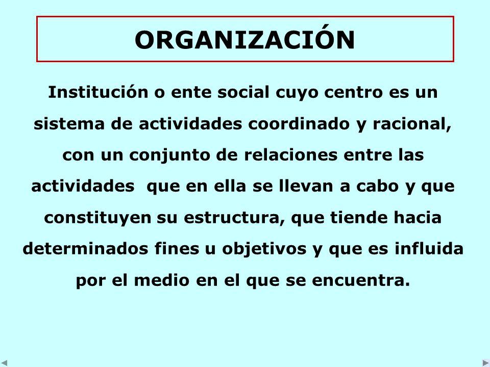 ORGANIZACIÓN Institución o ente social cuyo centro es un sistema de actividades coordinado y racional, con un conjunto de relaciones entre las actividades que en ella se llevan a cabo y que constituyen su estructura, que tiende hacia determinados fines u objetivos y que es influida por el medio en el que se encuentra.