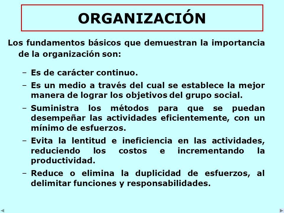 ORGANIZACIÓN Los fundamentos básicos que demuestran la importancia de la organización son: –Es de carácter continuo.