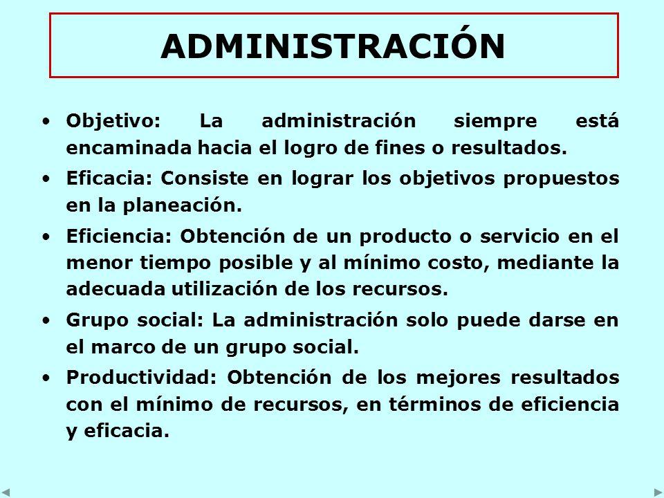 ADMINISTRACIÓN Objetivo: La administración siempre está encaminada hacia el logro de fines o resultados.