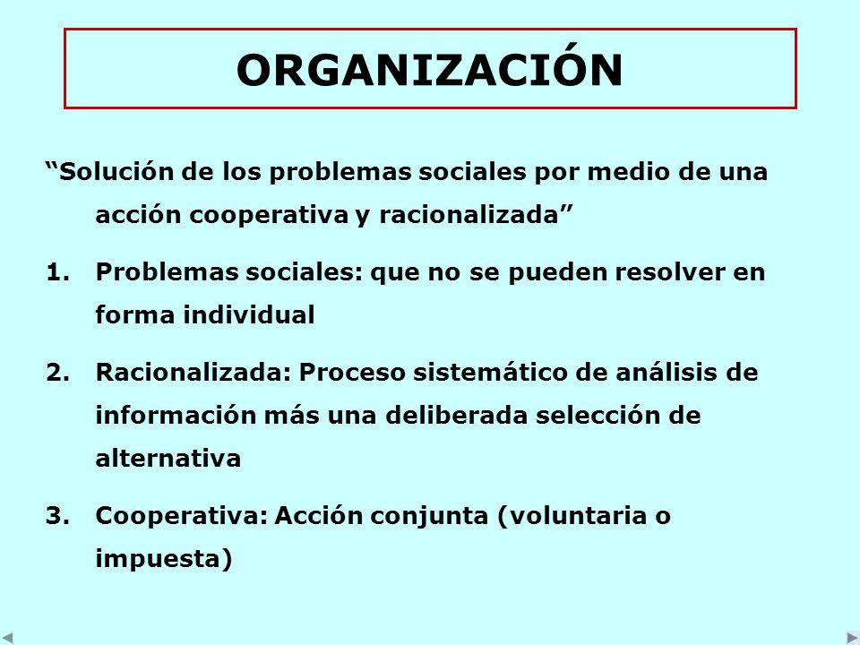 ORGANIZACIÓN Solución de los problemas sociales por medio de una acción cooperativa y racionalizada 1.Problemas sociales: que no se pueden resolver en forma individual 2.Racionalizada: Proceso sistemático de análisis de información más una deliberada selección de alternativa 3.Cooperativa: Acción conjunta (voluntaria o impuesta)
