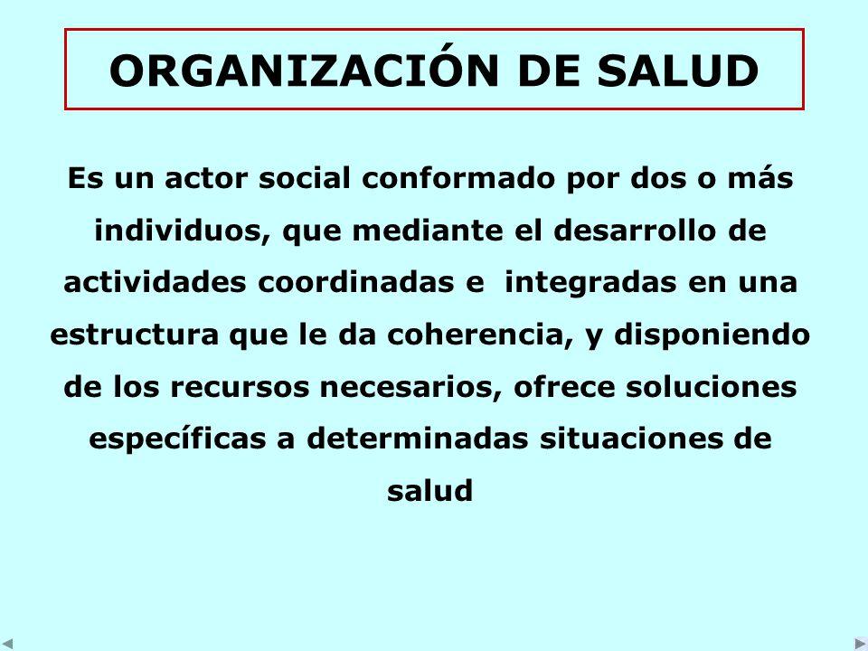 ORGANIZACIÓN DE SALUD Es un actor social conformado por dos o más individuos, que mediante el desarrollo de actividades coordinadas e integradas en una estructura que le da coherencia, y disponiendo de los recursos necesarios, ofrece soluciones específicas a determinadas situaciones de salud