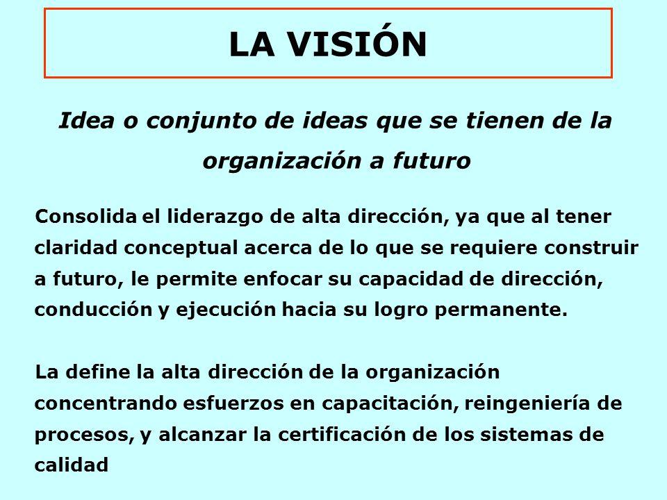 LA VISIÓN Idea o conjunto de ideas que se tienen de la organización a futuro Consolida el liderazgo de alta dirección, ya que al tener claridad conceptual acerca de lo que se requiere construir a futuro, le permite enfocar su capacidad de dirección, conducción y ejecución hacia su logro permanente.