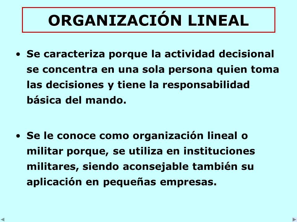 ORGANIZACIÓN LINEAL Se caracteriza porque la actividad decisional se concentra en una sola persona quien toma las decisiones y tiene la responsabilidad básica del mando.