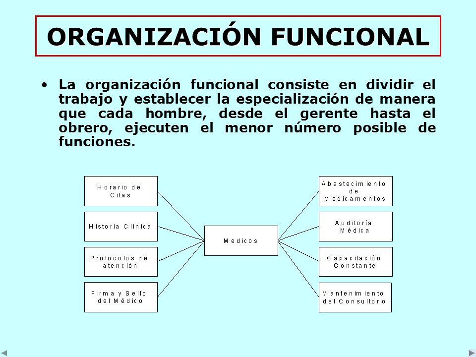 ORGANIZACIÓN FUNCIONAL La organización funcional consiste en dividir el trabajo y establecer la especialización de manera que cada hombre, desde el gerente hasta el obrero, ejecuten el menor número posible de funciones.