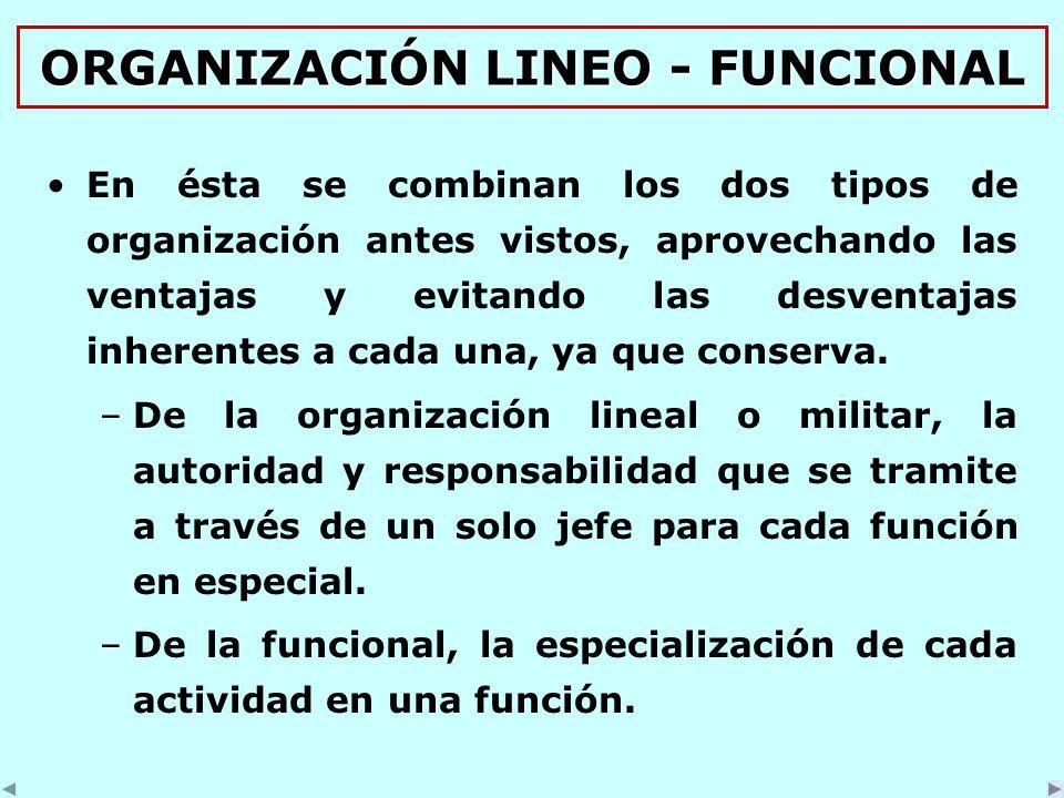 ORGANIZACIÓN LINEO - FUNCIONAL En ésta se combinan los dos tipos de organización antes vistos, aprovechando las ventajas y evitando las desventajas inherentes a cada una, ya que conserva.