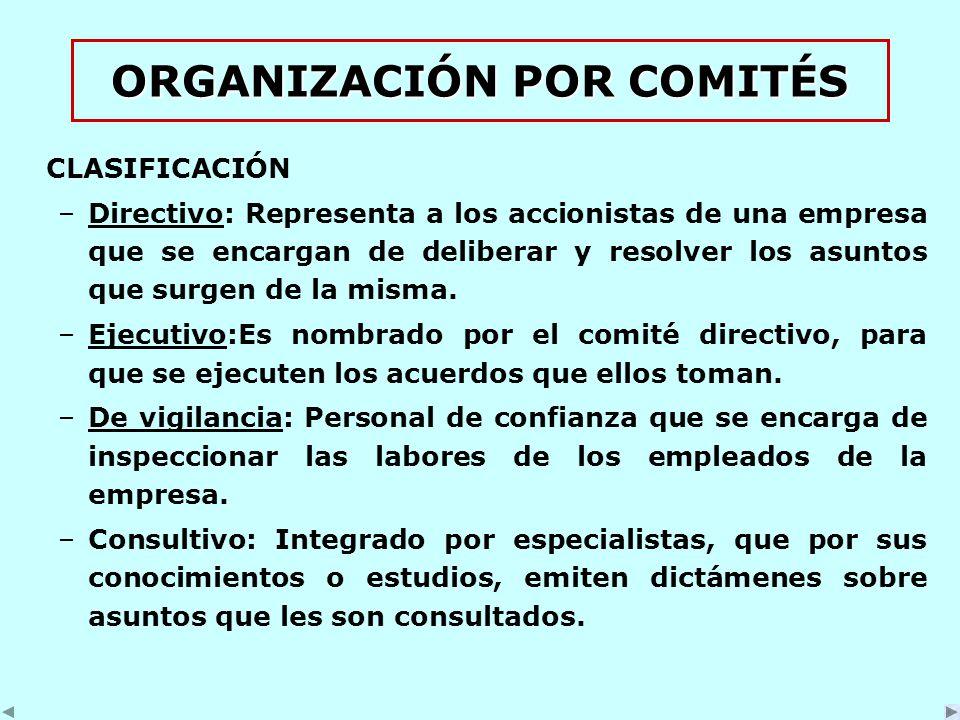 ORGANIZACIÓN POR COMITÉS CLASIFICACIÓN –Directivo: Representa a los accionistas de una empresa que se encargan de deliberar y resolver los asuntos que surgen de la misma.