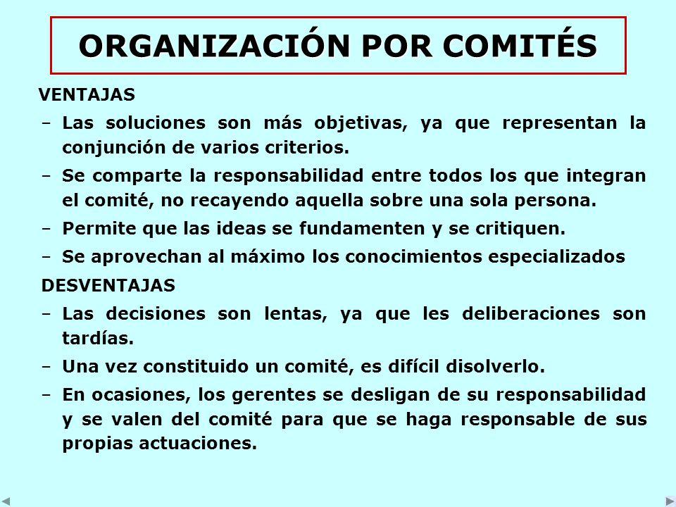 ORGANIZACIÓN POR COMITÉS VENTAJAS –Las soluciones son más objetivas, ya que representan la conjunción de varios criterios.