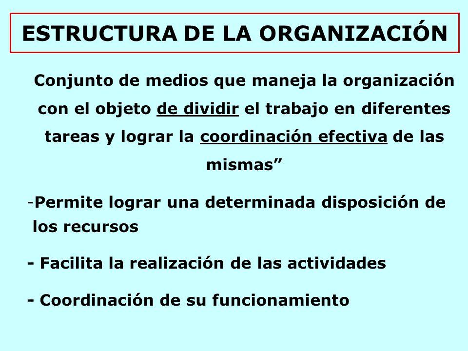 ESTRUCTURA DE LA ORGANIZACIÓN Conjunto de medios que maneja la organización con el objeto de dividir el trabajo en diferentes tareas y lograr la coordinación efectiva de las mismas -Permite lograr una determinada disposición de los recursos - Facilita la realización de las actividades - Coordinación de su funcionamiento