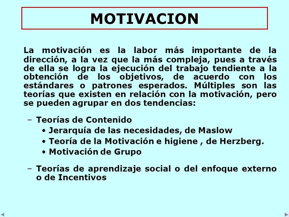 MOTIVACION La motivación es la labor más importante de la dirección, a la vez que la más compleja, pues a través de ella se logra la ejecución del trabajo tendiente a la obtención de los objetivos, de acuerdo con los estándares o patrones esperados.