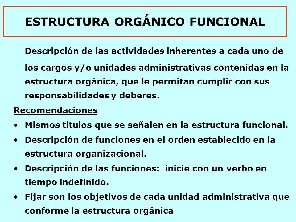 ESTRUCTURA ORGÁNICO FUNCIONAL Descripción de las actividades inherentes a cada uno de los cargos y/o unidades administrativas contenidas en la estructura orgánica, que le permitan cumplir con sus responsabilidades y deberes.