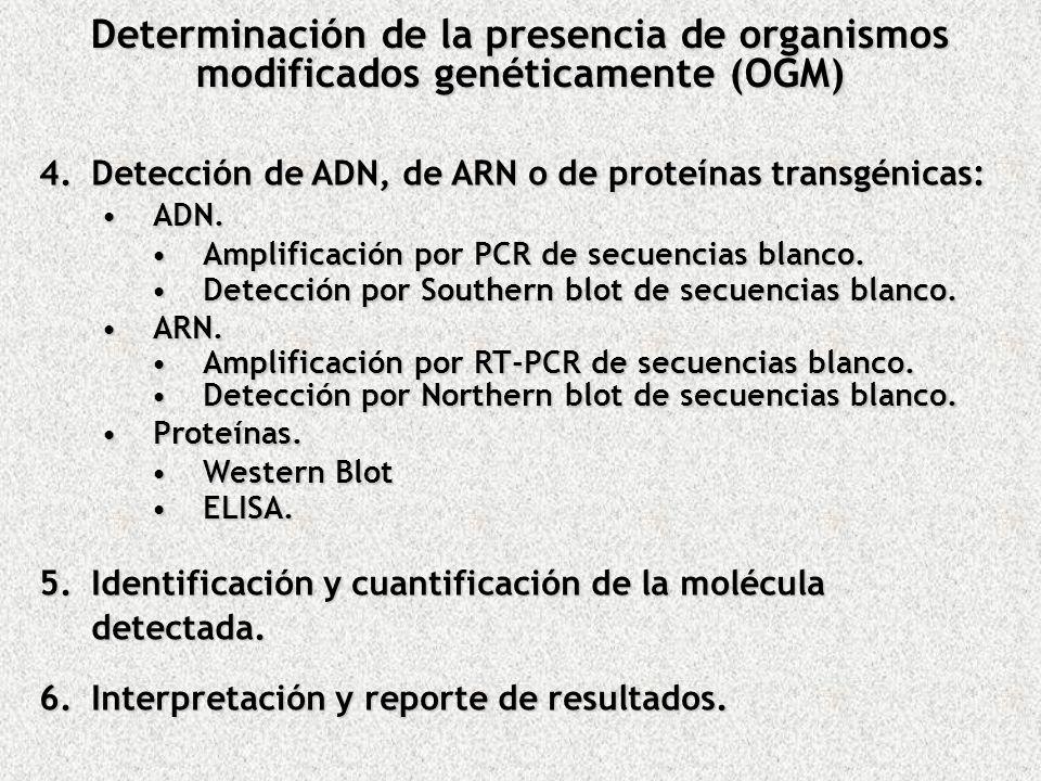 4.Detección de ADN, de ARN o de proteínas transgénicas: ADN.ADN. Amplificación por PCR de secuencias blanco.Amplificación por PCR de secuencias blanco
