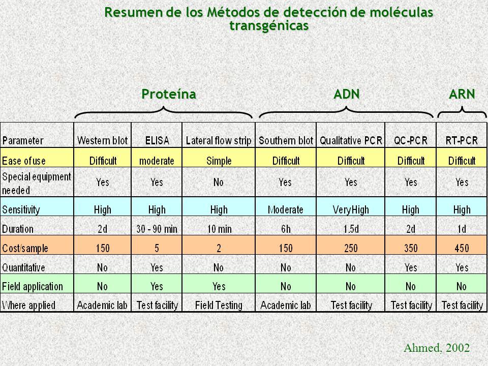 Resumen de los Métodos de detección de moléculas transgénicas Ahmed, 2002 ProteínaADNARN