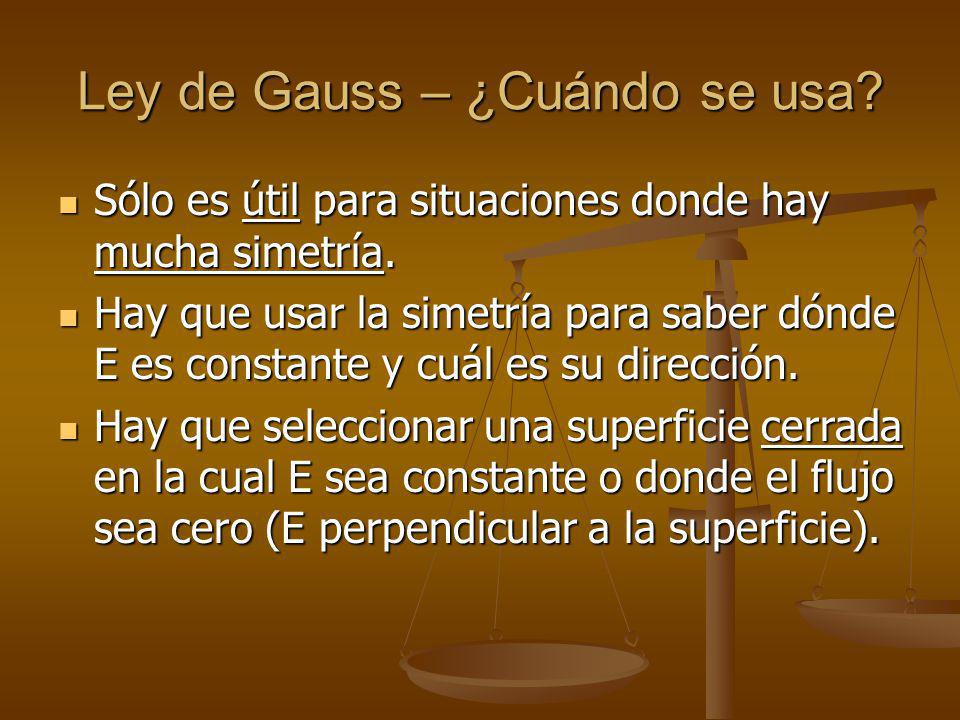 Ley de Gauss – ¿Cuándo se usa.Sólo es útil para situaciones donde hay mucha simetría.