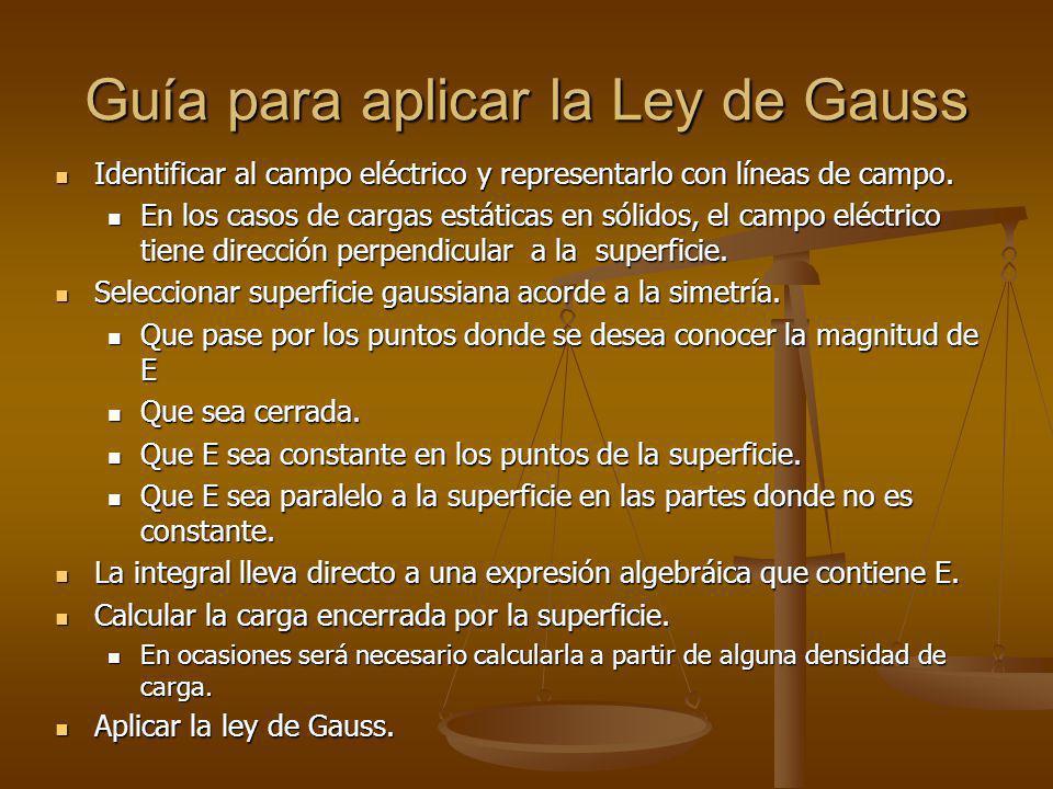 Guía para aplicar la Ley de Gauss Identificar al campo eléctrico y representarlo con líneas de campo.