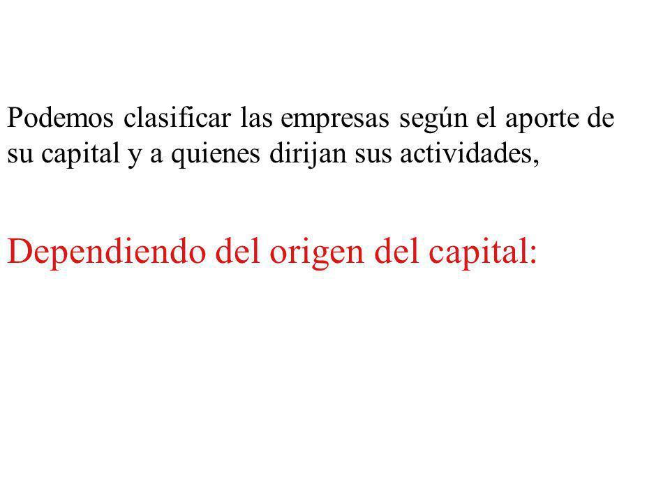 Podemos clasificar las empresas según el aporte de su capital y a quienes dirijan sus actividades, Dependiendo del origen del capital: