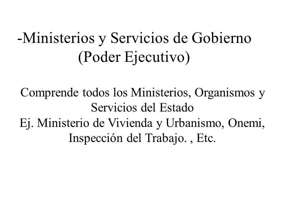 Comprende todos los Ministerios, Organismos y Servicios del Estado Ej. Ministerio de Vivienda y Urbanismo, Onemi, Inspección del Trabajo., Etc. -Minis