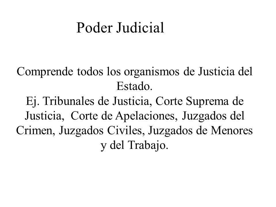 Poder Judicial Comprende todos los organismos de Justicia del Estado. Ej. Tribunales de Justicia, Corte Suprema de Justicia, Corte de Apelaciones, Juz