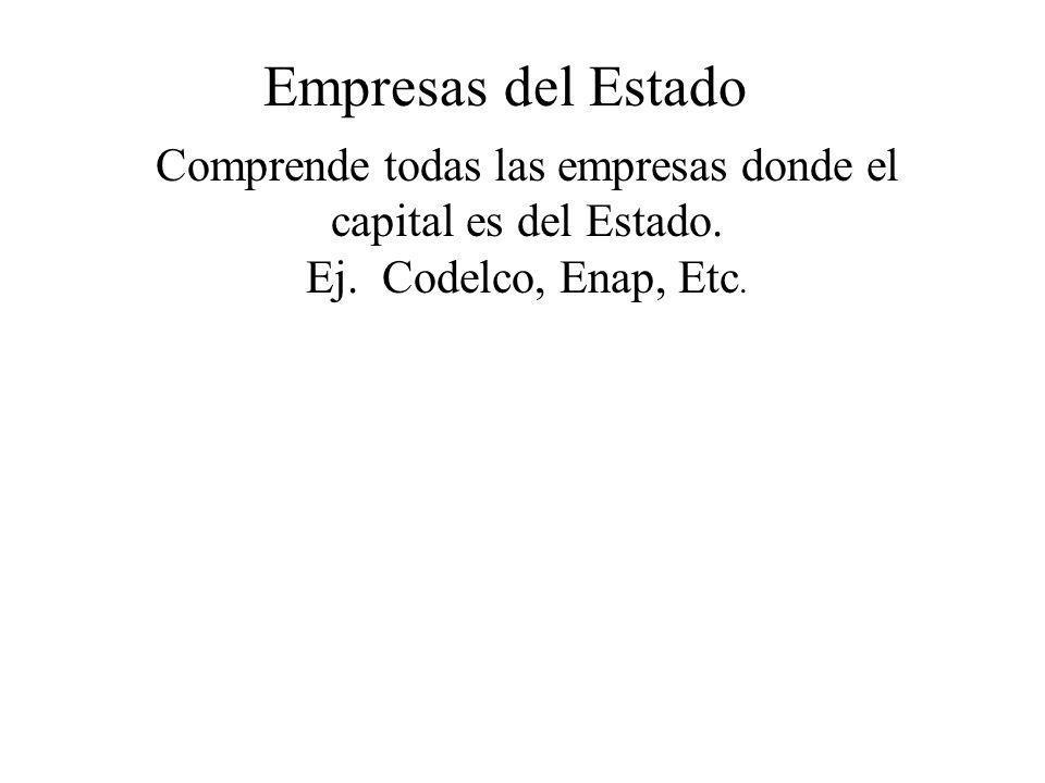 Empresas del Estado Comprende todas las empresas donde el capital es del Estado. Ej. Codelco, Enap, Etc.