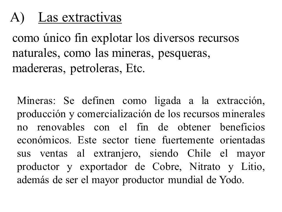 A)Las extractivas como único fin explotar los diversos recursos naturales, como las mineras, pesqueras, madereras, petroleras, Etc. Mineras: Se define